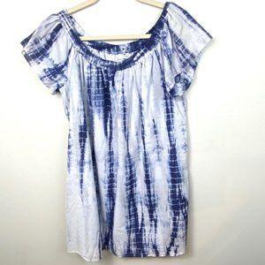 Lou & Grey Tie Dye Off Shoulder Dress CoverUp Blue